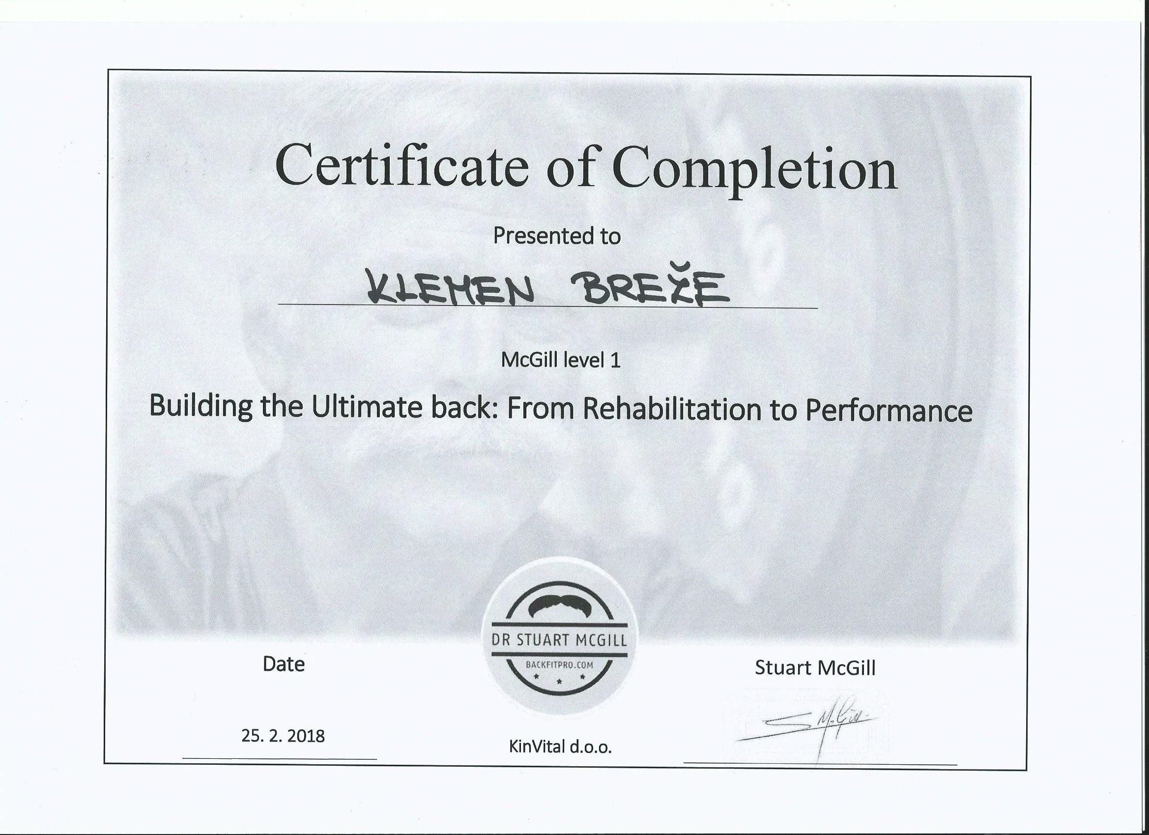 Stuart McGill certifikat